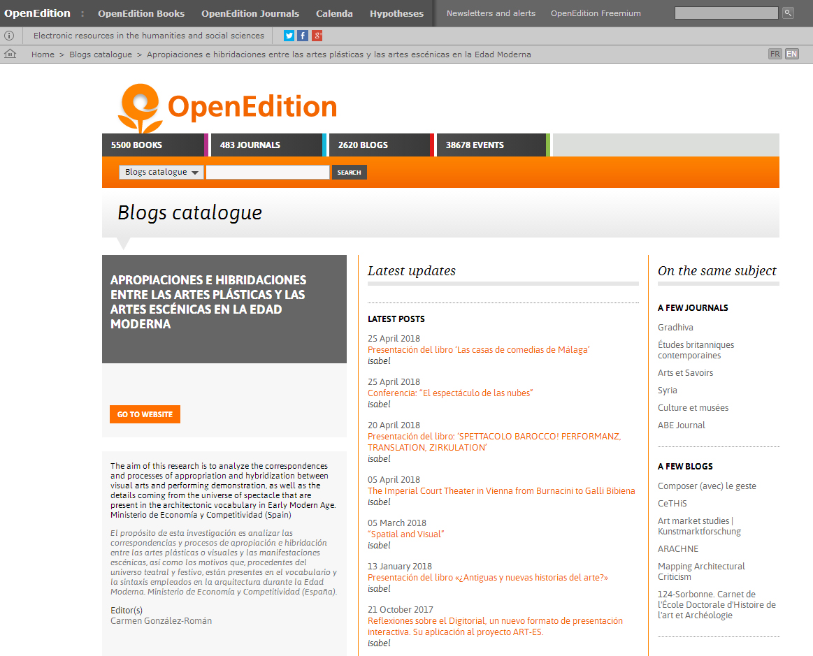 (31-05-2018). ART-ES blog, forma parte del catálogo de OpenEdition.   ART-ES blog, has been included on the catalogue of OpenEdition.