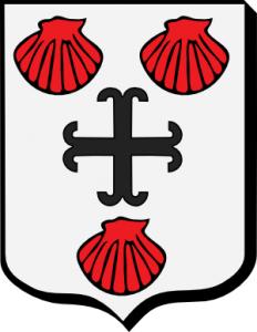 """Armoiries de la famille Du Dresnay ; """"D'argent à la croix ancrée de sable, accompagnée de trois coquilles de gueules"""""""
