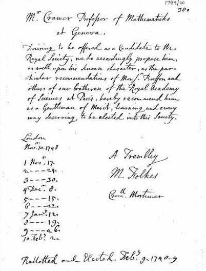 Certificat de l'élection de Cramer comme fellow de la Royal Society (février 1749)