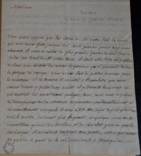 Lettre de Dupan à Jean Cramer, Bagnols-sur-Cèze, 4 janvier 1752. Musée d'histoire des sciences, Genève, Z211.