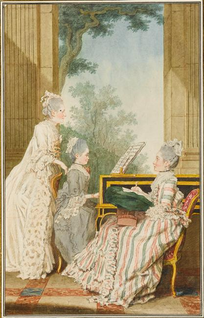 Carmontelle - Madame la marquise de Rumain avec la comtesse de Polignac et mademoiselle de Romain, ses deux filles