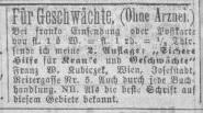 Inserat von Kubiczek, in: Figaro, 23.9.1871: 9