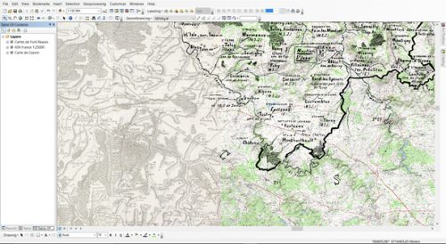 Figure 2 : Exemple des données raster pour le territoire parmi les diocèses de Langres, Autun et Auxerre (Carte IGN 1/25 000e, carte de Cassini, carte de Font Réaulx)