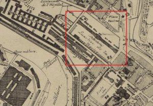 Carte de Brest montrant la Caserne Fautras : Source http://gallica.bnf.fr/