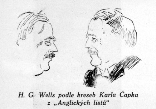 H.G.Wells as drawn by Karel Čapek in the Letters from England