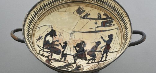 """Coupe laconienne, """"Coupe d'Arcésilas"""" http://medaillesetantiques.bnf.fr/ws/catalogue/app/collection/record/ark:/12148/c33gbhc8h"""