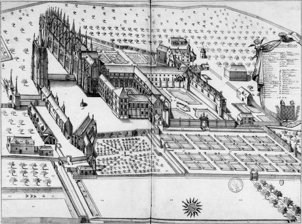 Vue générale de l'abbaye du Bec en  1677. Matériaux du Monasticon gallicanum de Dom Germain. BnF Latin 11820