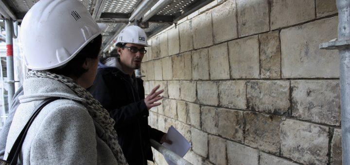 Visite de chantier avec l'élu à la culture du conseil départemental, agents du SDAC, et Craham (cl. Luc Bourgeois)