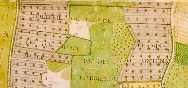 Plan de l'abbaye de Barbery et de la paroisse de 1783. Extrait du secteur des tuileries, Arch. dép. Calvados. H 1381/2.