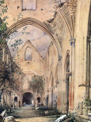 Fig. 4L'église Saint-Pierre d'après J.Jollivet, 1847 (cl. Y. Deslandes, Musée départemental des Antiquités)