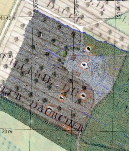 Superposition du plan du XVIIIes. avec la carte des anomalies brutes dans le secteur de la tuilerie d'Auvrecher.