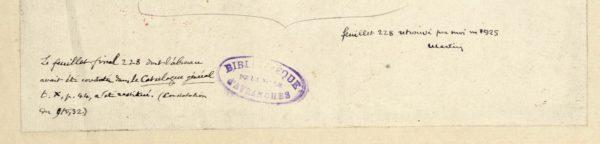 Notes sur le feuillet de garde relatives à la restitution du folio 228