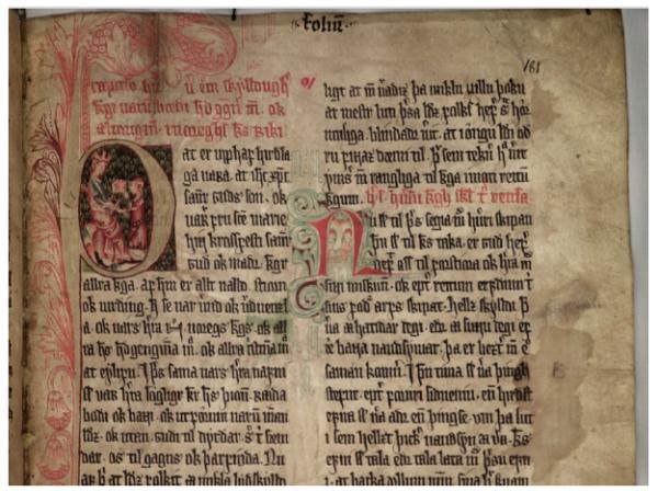 Figure 2 Folio 91 v. du manuscrit AM 350 fol. des Lois de la hirð (Fonds Arna Magnusson, Reykjavik)