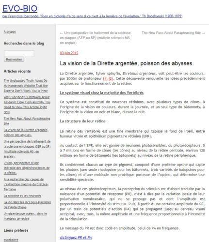 Page d'accueil du blog Evo Bio de Françoise Ibarrondo