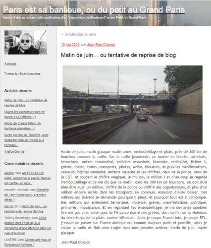 Page d'accueil du blog Paris est sa banlieue de Jean-Paul Chapon
