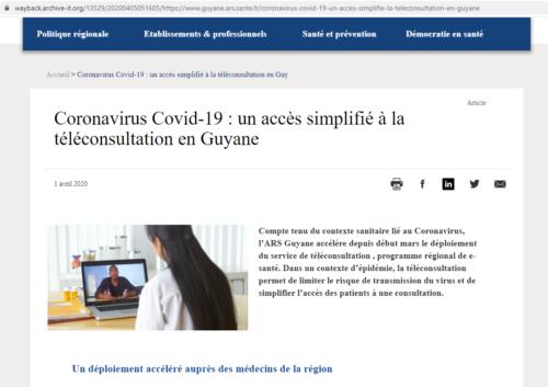 Page d'information de l'ARS Guyane sur la téléconsultation.