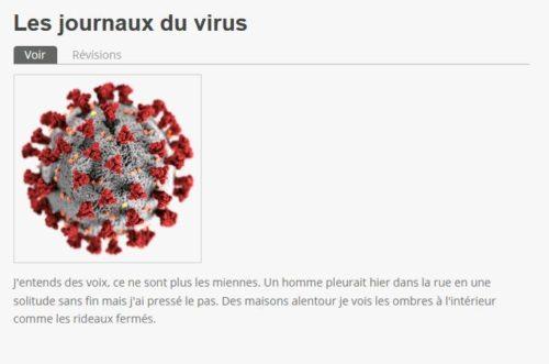 Les journaux du virus de Daniel Bourrion sur le site face-ecran.fr