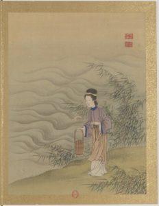 Femme allant puiser de l'eau à la rivière