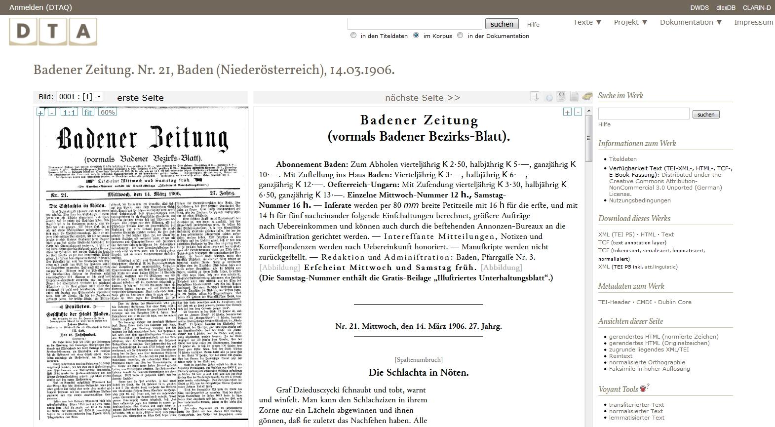 Text-Bild-Ansicht im Deutschen Textarchiv