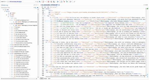 XML-Volltext, strukturiert und annotiert gemäß DTABf; Screenshot aus dem oXygen-XML-Editor (cf. https://www.oxygenxml.com/).