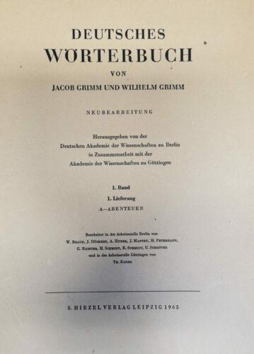 Deutsches Wörterbuch von Jacob Grimm und Wilhelm Grimm, Neubearbeitung. Titelseite der 1. Lieferung