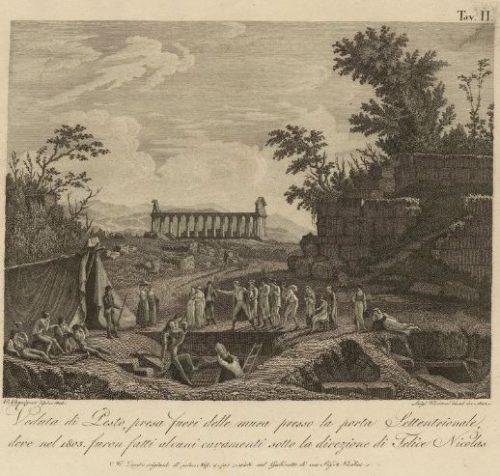 Veduta di Pesto nel 1805 in Memorie sui monumenti di antichitá, pl. II, Napoli, 1812 - Département Philosophie, histoire, sciences de l'homme 2014-266746