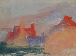 Les Tours vermillon, étude à Marseille, vers 1838, aquarelle et gouache sur papier gris, copyright © Tate, London 2015