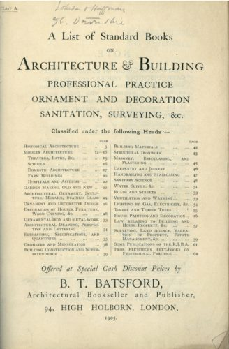 "A sample of an item nestled within the Tuftonian journals. ""A List of Standard Books on Architecture & Building: Professional Practice, Ornament and Decoration, Sanitation, Surveying, &c., B. T. Batsford, 1905."" Fonds Thomas Whittemore - Institut byzantin, Subgroup 02-Series 05, Bibliothèque byzantine, Collège de France."