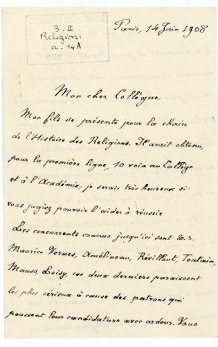 Image scannée de lettre de Paul Foucart à un professeur non identifié
