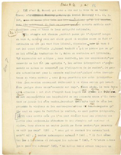 Image scannée du dactylogramme de « L'Essai sur le Don »