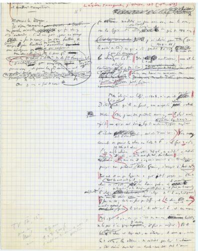 Image scannée de la première page du manuscrit de la conférence d'ouverture du 19 octobre 1972 à Liège, Fondation Francqui Internationale [cote DMZ 72. 1. 1]