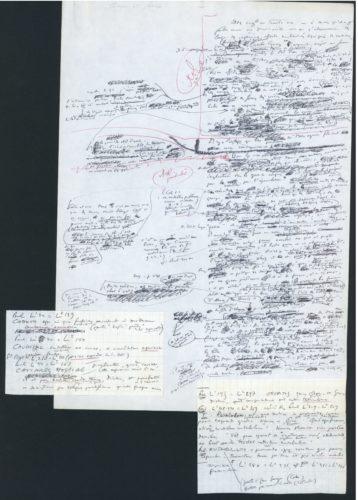 Image scannée de strates et remaniements des papiers : un exemple issu de la cote DMZ.1. 3. Notes manuscrites associées à des conférences prononcées à l'Université de Liège à l'automne 1972 [inventaire détaillé en cours]