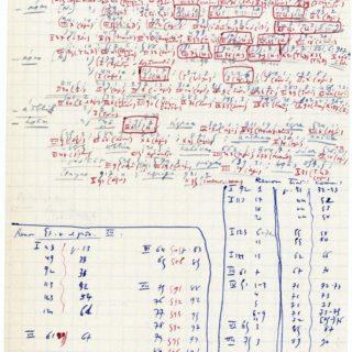 Série d'occurrences et références se rapportant à « la déesse Aurore » (mention en haut à droite du feuillet) – Déesse Usas dans la religion de l'Inde védique et Aurora dans la religion romaine. Voir cote DMZ 26.3 « appendices » du manuscrit de Mythe et épopée III, sous-dossier « Mater Matuta II » ; la chemise quadrillée est datée au crayon des 10 et 11 novembre 1958. Des références de pages dans des ouvrages de [Louis] Renou apparaissent dans la partie inférieure du feuillet : les abréviations renvoient notamment à ses Etudes védiques et pâninéennes, (Paris, De Boccard, 1957) dans lesquelles l'auteur fait la recension et la traduction des hymnes du Rig-Veda sur l'Aurore.