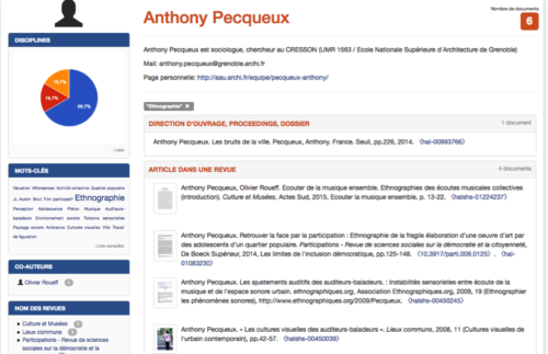 Figure 2 - CV ciblé sur un mot clé : https://cv.archives-ouvertes.fr/anthony-pecqueux/keyword_s/%22Ethnographie%22
