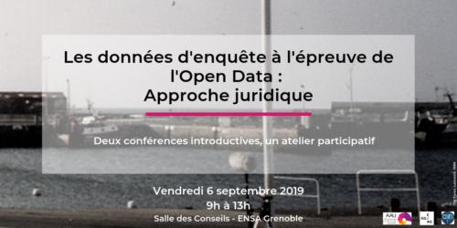 """""""Les données d'enquête à l'épreuve de l'Open Data : approche juridique"""", CRESSON, 6 septembre 2019"""