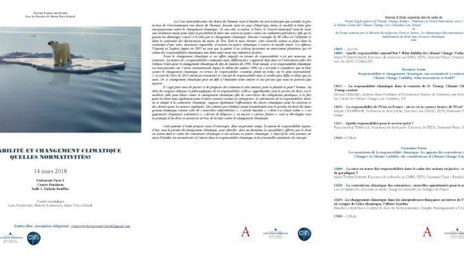 Journée d'étude Franco-Américaine : Responsabilité et changement climatique, quelles normativités? – 14 mars 2018