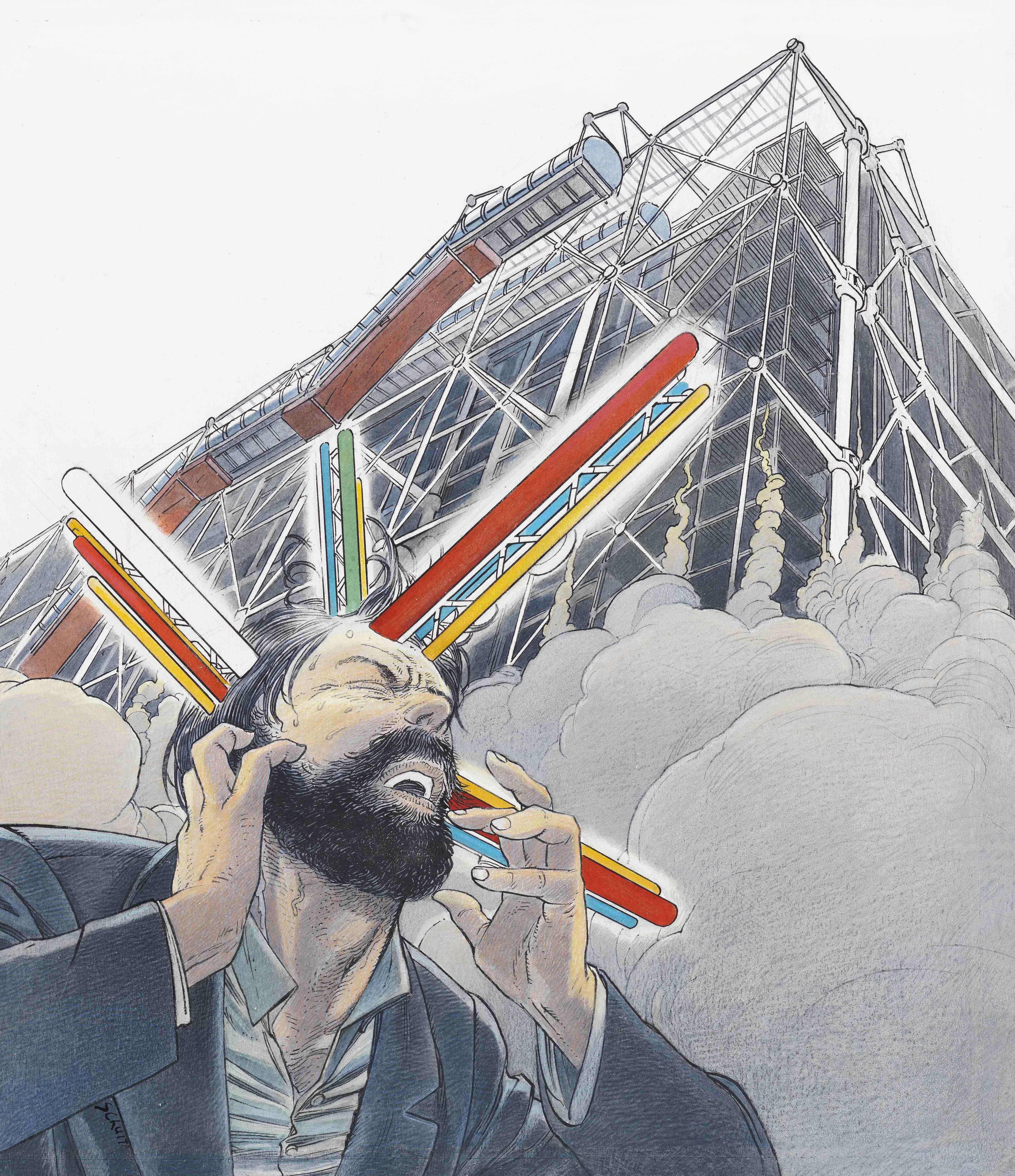François Schuiten et Benoît Peeters, L'étrange cas du docteur Abraham, Bruxelles / Paris, Casterman, 2001, illustration de couverture (coll. Les Cités obscures).