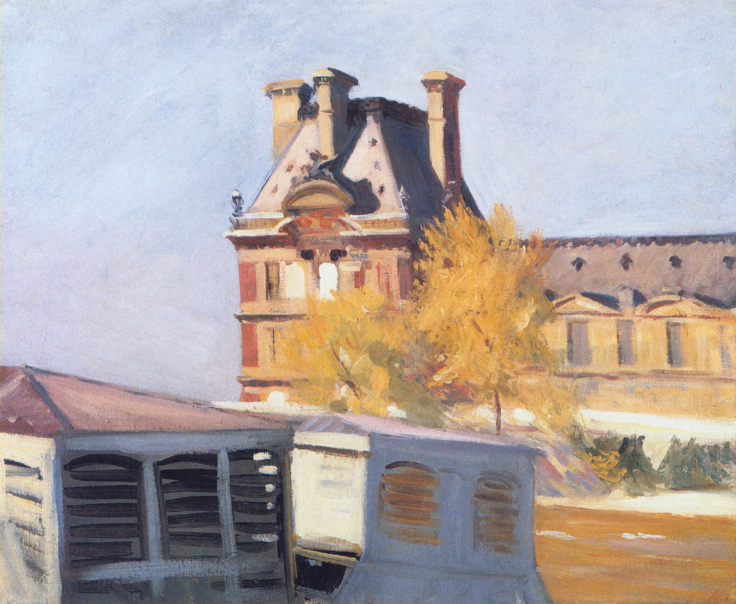 Edward Hopper, Le Pavillon de Flore, 1909, oil on canvas, 23 5/8 × 28 13/16 in. (60 × 73.2 cm), Whitney Museum of American Art, New York, Josephine N. Hopper Bequest (70.1174)