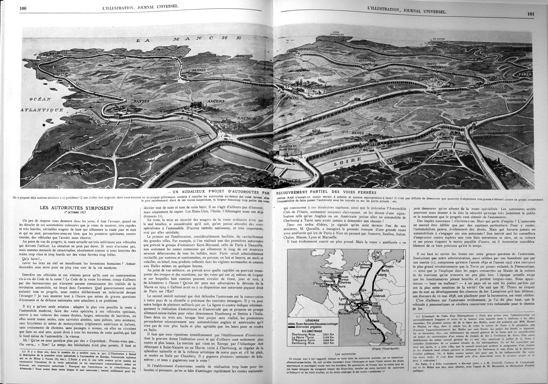 « Les autoroutes s'imposent », L'Illustration, octobre 1927, p. 100-101