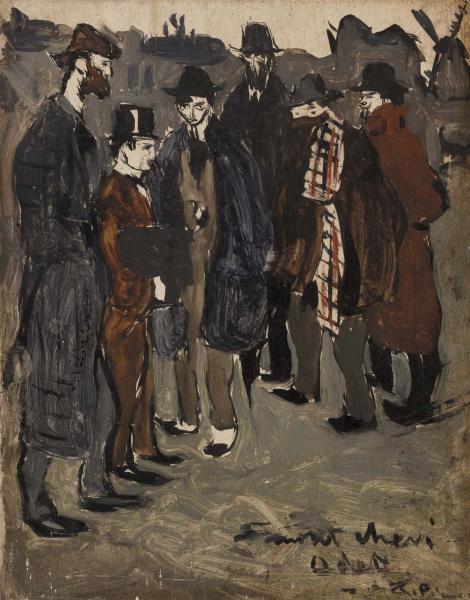 Pablo Picasso, Groupe de Catalans à Montmartre, 1900, huile sur papier, 23 x 17 cm., Merion, Pennsylvanie, The Barnes Foundation.