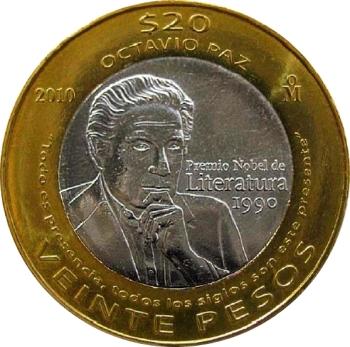 04 Octavio Paz Moneda de 20 pesos mexicanos acuñada en 2010.Recorte