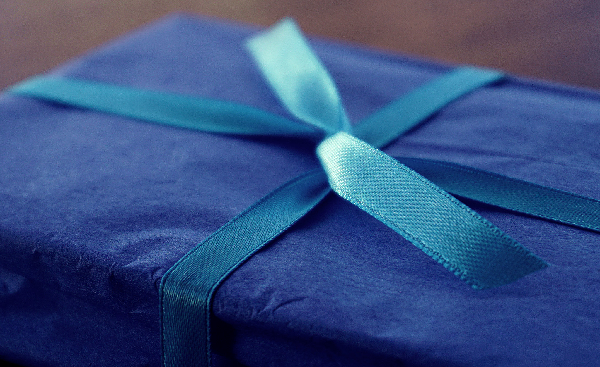 Blue wrapped gift