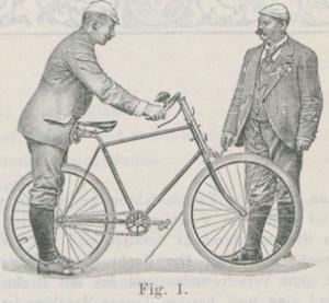 Zunächst das richtige Anstellen: hinter dem Rad mit helfender Hand des Lehrers.