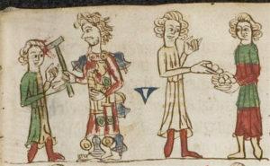 Vier Personen in zwei Gruppen bei der sich jeweils zwei Personen gegenüber stehen. Links wird schlägt ein Mann der ein mit Glocken geschmücktes Gewand trägt, mit einer Axt auf einen anderen Man ein. Aus dessen Wunde am Kopf, Blut spitzt. Rechts füllt ein Mann runde Gegenstände in die Hände seines Gegenüber