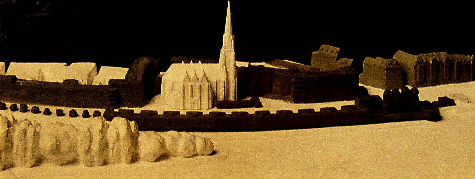 Ein Modell zur Neustrukturierung des Uferbereiches mit der Kirche und der umliegenden, neu geplanten Bebauung
