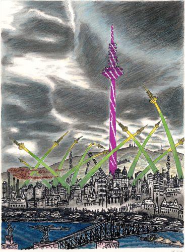 Zeichnung von Frankfurt, im Vordergrund mit dem Eisernen Steg, dahinter ist in Pink der Fernsehturm zu erkennen. Um ihn herum ragen viele kleinere Veersionen des Turms in gelb-grün aus dem Stadtbild heraus
