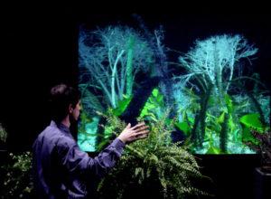 Zu sehen äst auf einer Fotografie ein Mann, der im unteren rechten Bildrand seitlich weggedreht, fast mit dem Rücken zum Betrachter steht. Er hat seine rechte erhoben und schaut auf die vor ihm stehende Leinwand, die eine computeranimierte Naturszene mit Bäumen und Pflanzen zeigt.