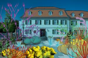 Die Aufnahme zeigt das Sinclair Haus in einer sehr farbigen Unterwasser Welt, die ihr wie eine Maske aufgelegt wurde. Die Arbeit beschäftigt sich mit den Möglichkeiten der digitalen Realität.
