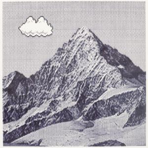 Die Abbildung zeigt einen  Berg, mit einer weißen Wollte auf der linken Seite. Der s/w Druck wirkt wie eine computeranimierte Graphik, auf der auch die Linien des Papiers zu sehen sind.