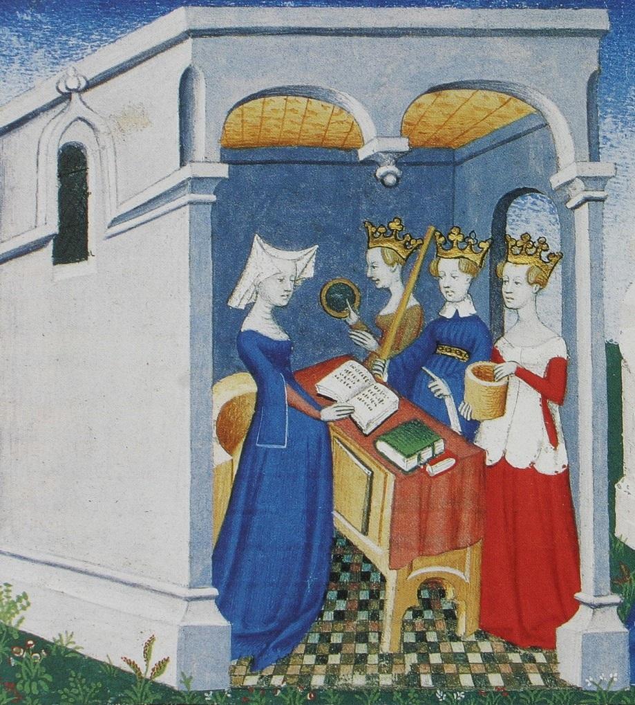 Es wird eine mittelalterliche Buchmalerei gezeigt, auf der vier Frauen in  einem Leseraum zu sehen sind. Drei sind  bekrönt, die vierte trägt eine Spitzhaue und hält ein geöffnete Buch in den Händen. Die